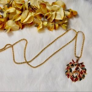 Jewelry - Gold Rhinestone Christmas Wreath & Bell Necklace